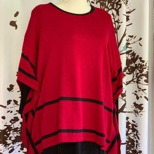 Nina Leonard Red & Black Two Piece Dress